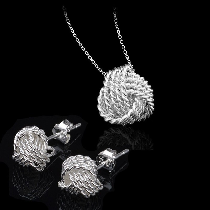 Love knot jewelry set silver jewelry silver jewelry online shop love knot jewelry set mozeypictures Image collections