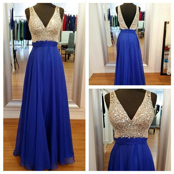 V Neck Off the Shoulder Royal Blue Prom Dresses,V Back Beaded ...