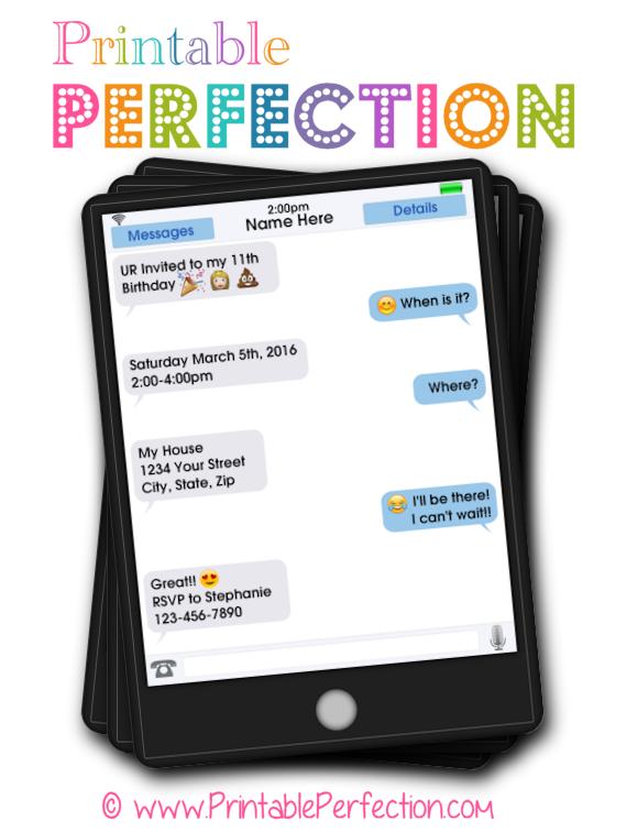 Birthday Party Invitation Emoji Smileys Printable Perfection – 11th Birthday Party Invitations
