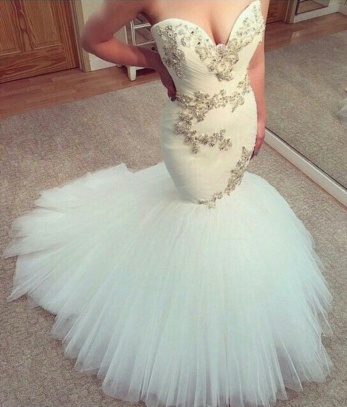 Mermaid prom dress, long prom dress, sweet heart prom dress, white ...