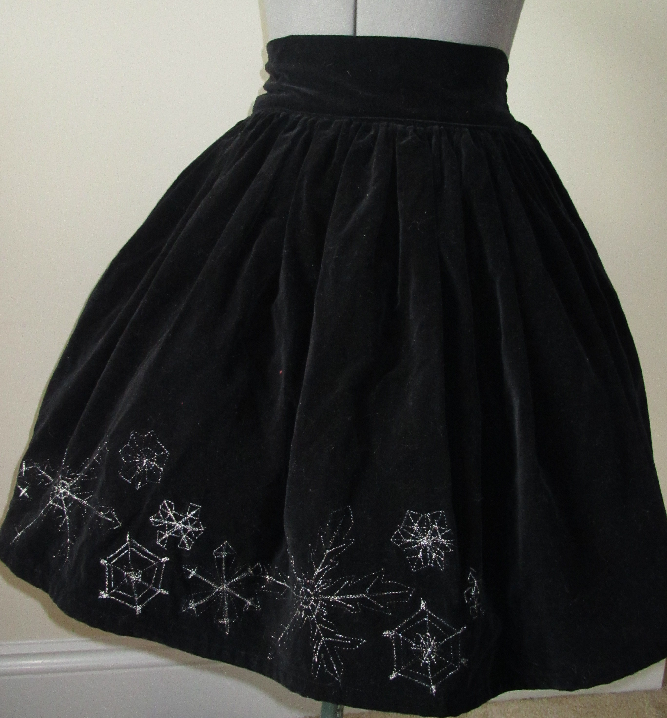 Toxicity Silver Snowflake Black Velvet Skirt Online Store Powered By Storenvy