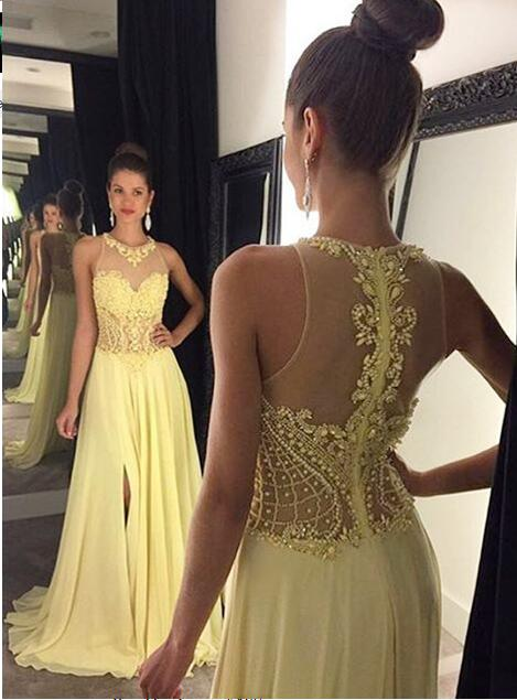 See through prom dress, yellow prom dress,