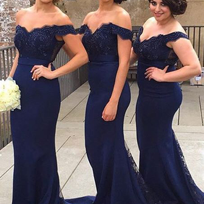 Mermaid Navy Blue Jersey Bridesmaid Dresses,Plus Size Bridesmaid  Dresses,Off Shoulder Wedding Party Dresses for Bridesmaid APD1732 from  DiyDresses