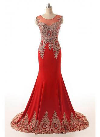 Gorgeous Red Mermaid Prom Gowns With Lace Appliques, Red Prom Gowns ...