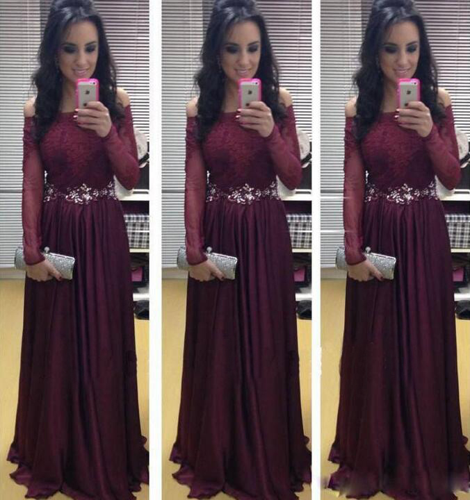 Cheap long sleeve purple dress