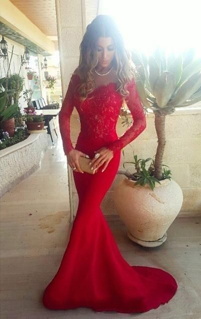 2016 red prom dresses, Long sleeve lace prom dresses, Mermaid prom ...