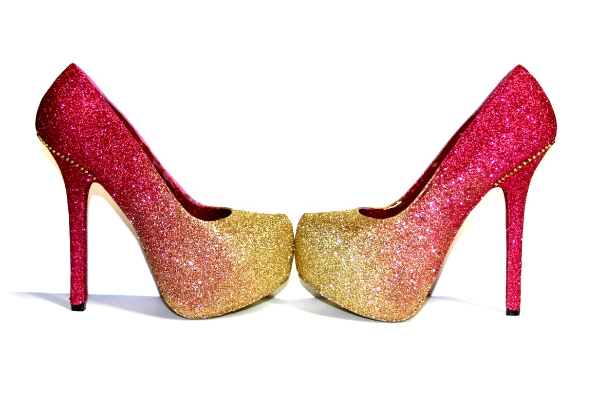 Rose Gold Glitter Ombre High Heels | Wicked Addiction | Online ...