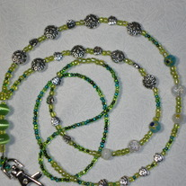 Beaded Lanyard Green/Silver (Spec. Order)