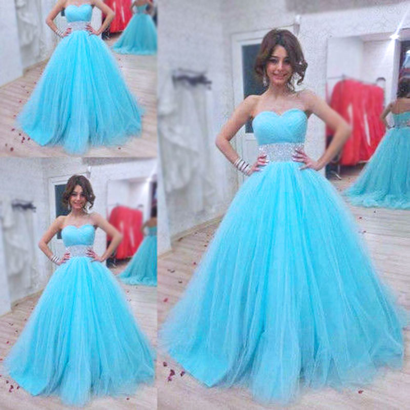 Sweetheart Ball Gown Evening Dresses,Sweet 16 Dresses,Blue Tulle ...