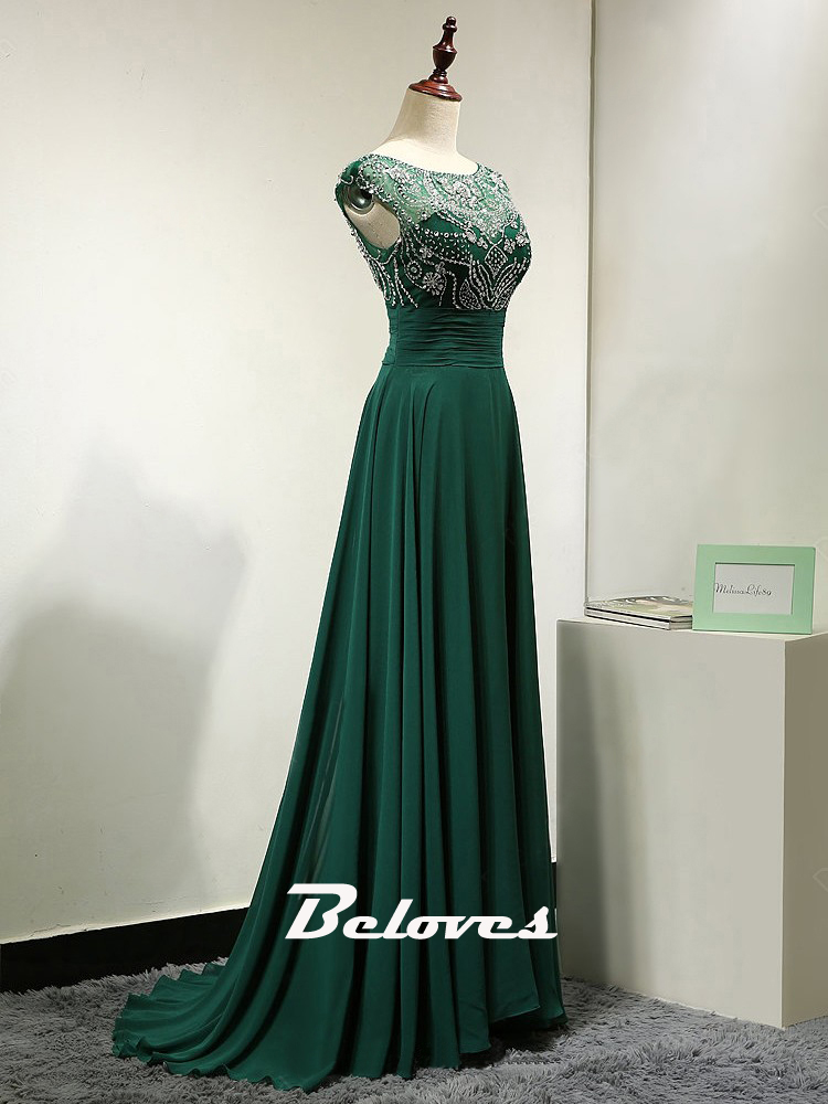 2016 dark green cap sleeves chiffon prom dress with beaded