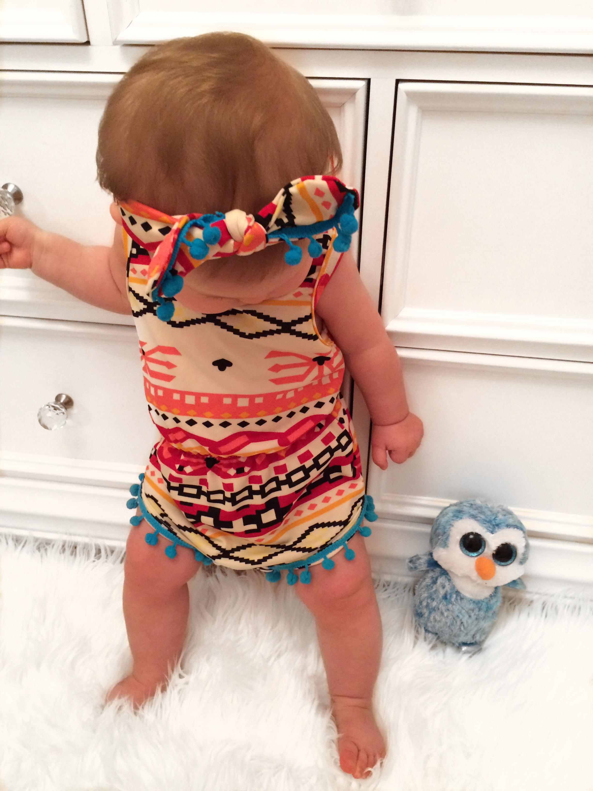 Aztec Pom Pom Romper & Headband Set · Kissable Baby Boutique