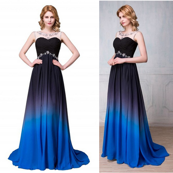 New Arrival Navy Blue Gradient Long Prom Dresses, Royal Blue Ombre ...