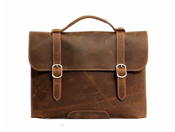 Mens Leather Satchel, 15 Inch Laptop Briefcase,