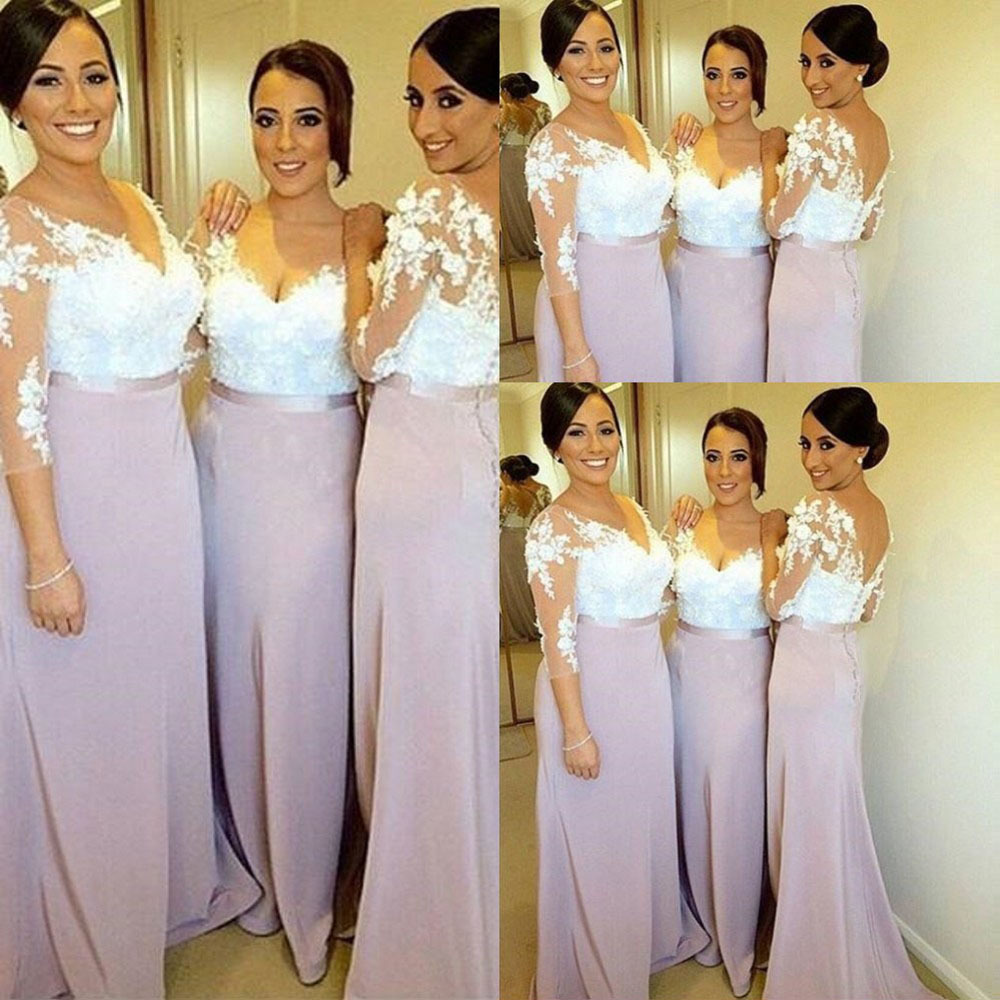 Two toned bridesmaid dress with 3 d flowers v neck lace two toned bridesmaid dress with 3 d flowers v neck lace bridesmaid dresses with 34 sleeves elegant long bridesmaid dress with v back ombrellifo Choice Image