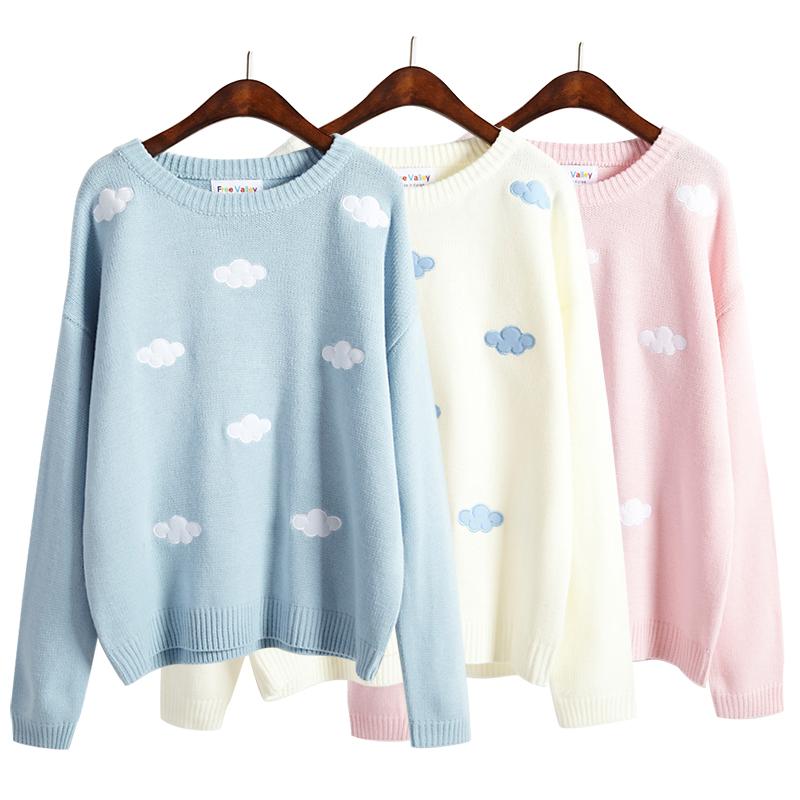 Sweet patch embroidery clouds sweater knit · Harajuku fashion ...