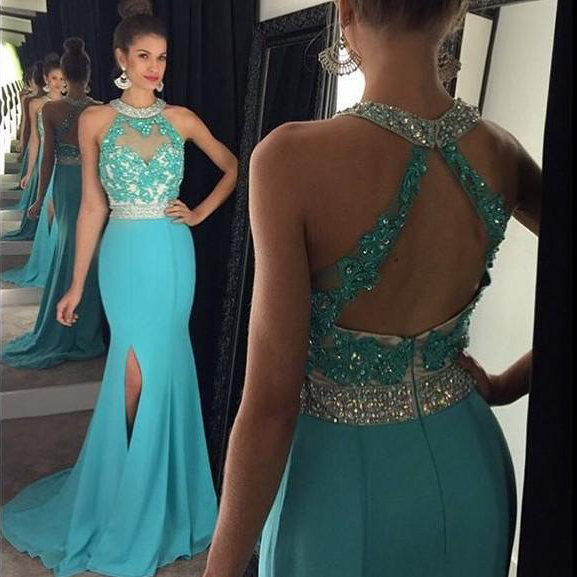 Open Back Prom Dresses, Beaded Halter Prom Dress with Front Split ...