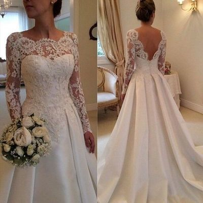 A Line Backless Long Sleeve Spring Wedding Dresses lace Bridal Gowns ...