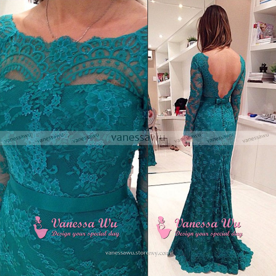 Long Sleeve Lace Prom Dress, Backless Mermaid Evening Gowns with ...