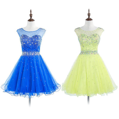 Royal Blue Open Back Prom Dresses with Sparkle Beads, Illusion Mini ...