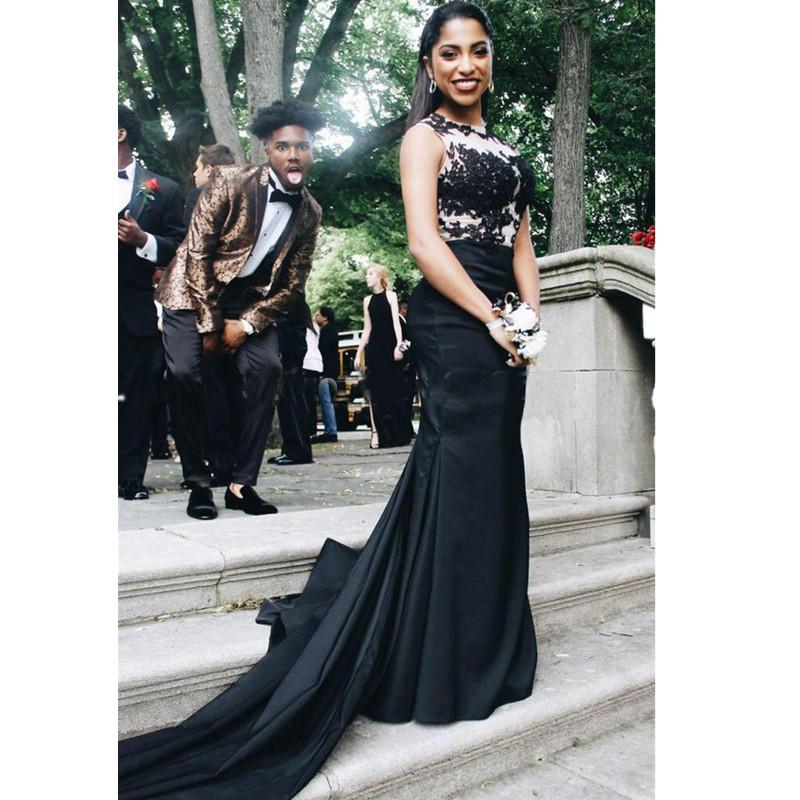 Black Mermaid Prom Dresses Scoop Neck Lace Appliques Long Court ...