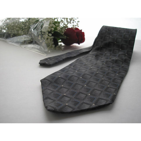 Bill Blass Silk Tie Gray Squares Pattern On Storenvy