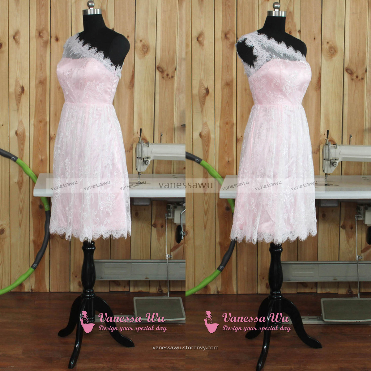 e Shoulder Lace Bridesmaid Dresses Short Pink