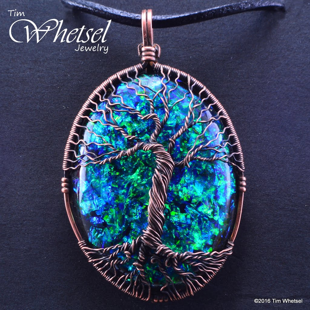 Wire Wrap Tree of Life Pendant - Opalescent Glow in The Dark Orgone ...