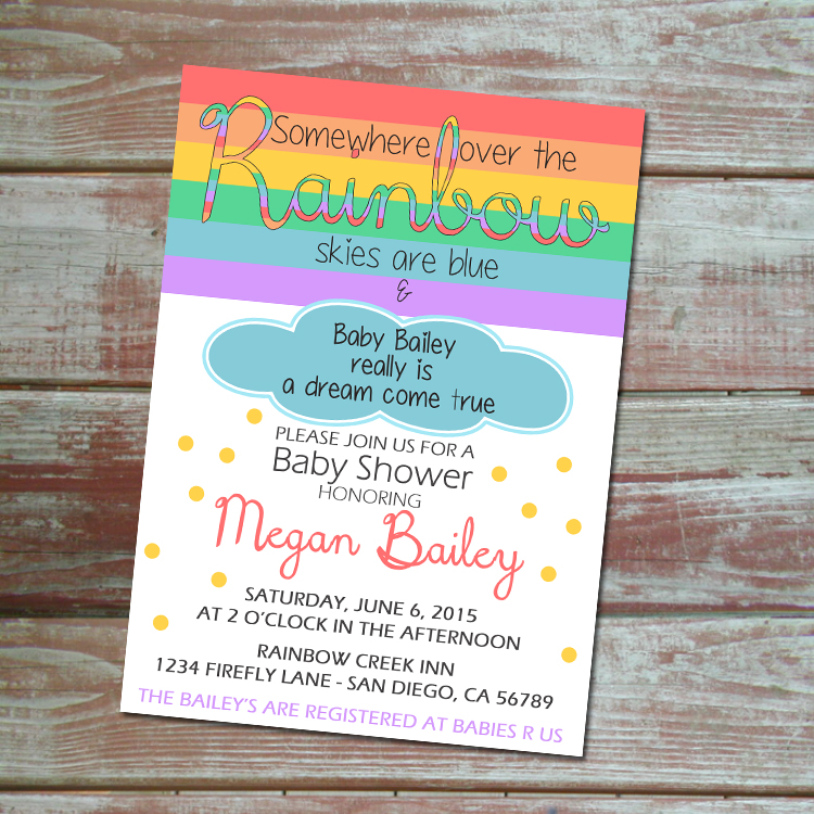 Somewhere over the rainbow baby shower invitation · Little Wolfe ...