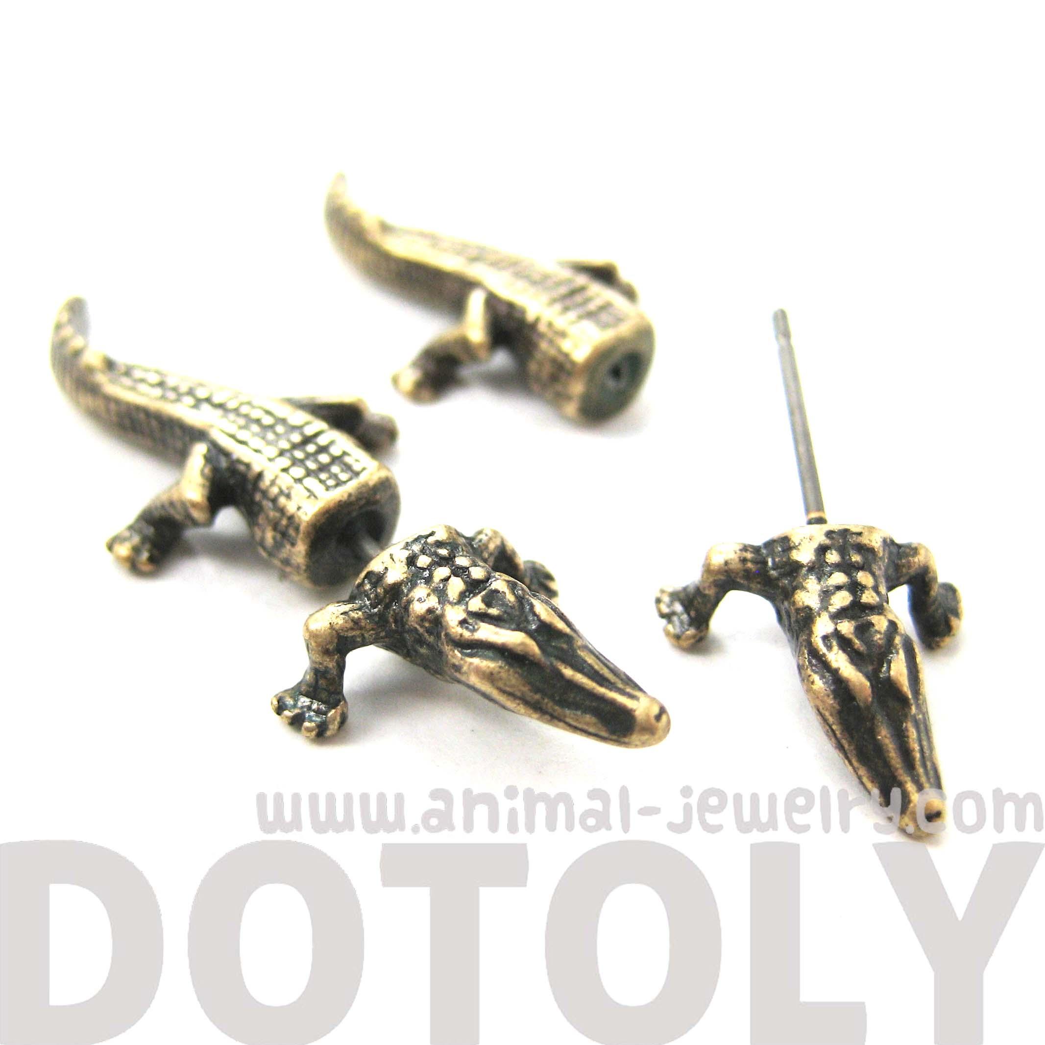 Fake Gauge Crocodile Alligator Animal Stud Earrings In Brass  Thumbnail 1