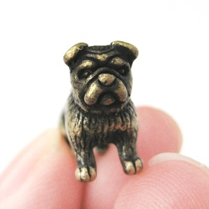 Adorable Bulldog Animal Fake Gauge Stud Earrings in Brass