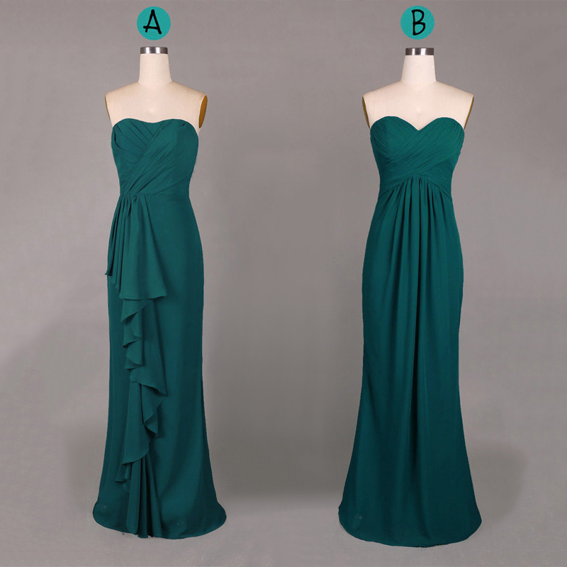 Hunter Green Bridesmaid Dresses, Sweetheart Sheath Chiffon ...
