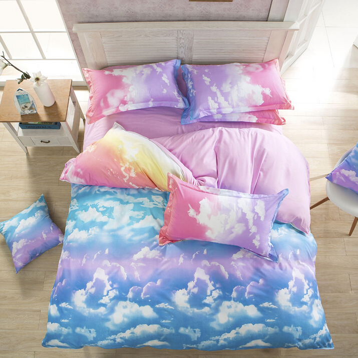 Perfect Cute Harajuku Galaxy Sheet Bedding Bed 4 Pieces.