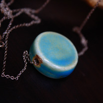 Aqua Glazed Ceramic Silvertone Chain Necklace