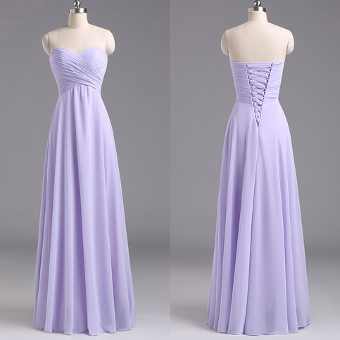 Sweetheart lavender bridesmaid dresses chiffon floor for Dresses to attend wedding
