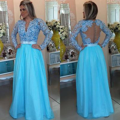 floorlength sky blue prom dresses long sleeve lace prom