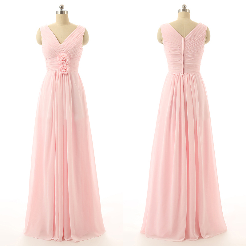 V-neck Chiffon Bridesmaid Dresses with Hand-made Flowers, Cheap Pink ...