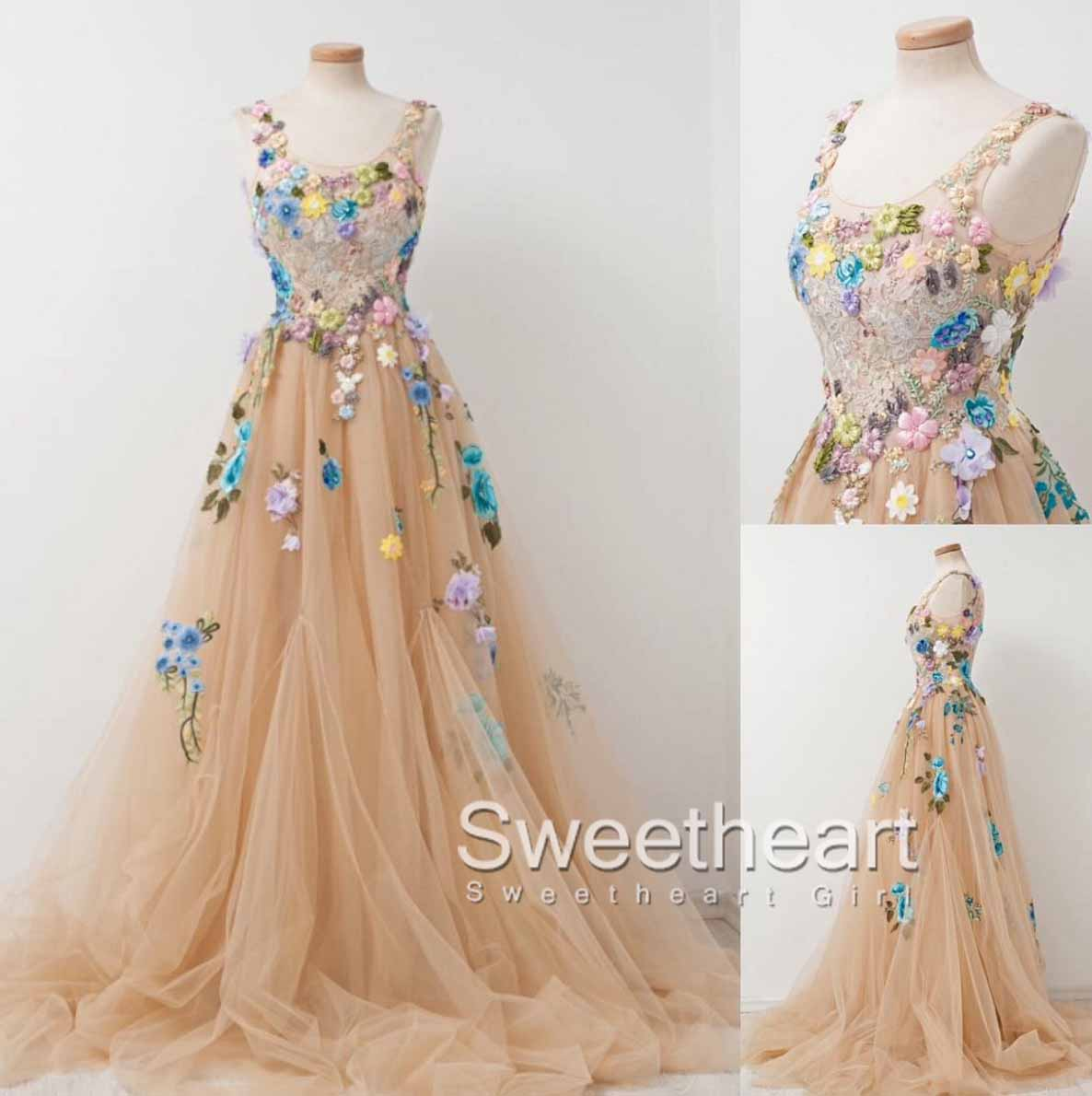 Home a line round neck tulle applique long prom dress champagne long