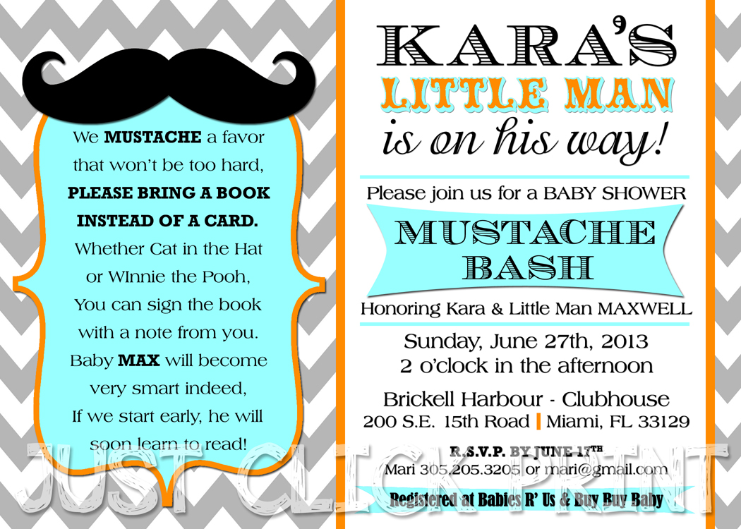 mustache or moustache bash chevron baby shower invitation printable