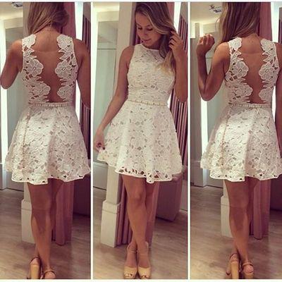 white lace short homecoming dresses, mini prom dress,FS17850 ...