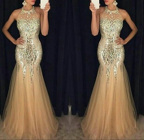 Formal Dress Amazing Gold Halter Prom Dress Mermaid