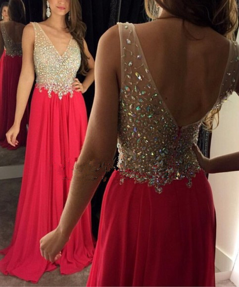 Red Chiffon Sequin Long Prom Dress For Teens Evening Dresssexy
