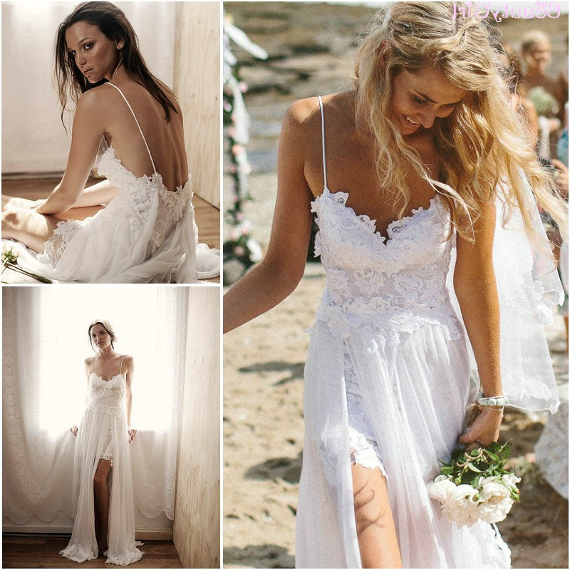 Wd04 beach wedding dresses lace backless summer bridal for Lace beach wedding dresses