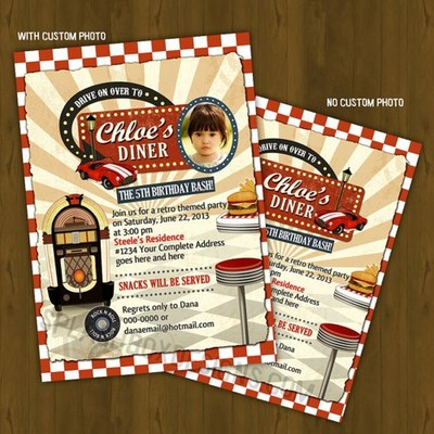 Vintage retro diner printable invitation - baby shower or birthday card