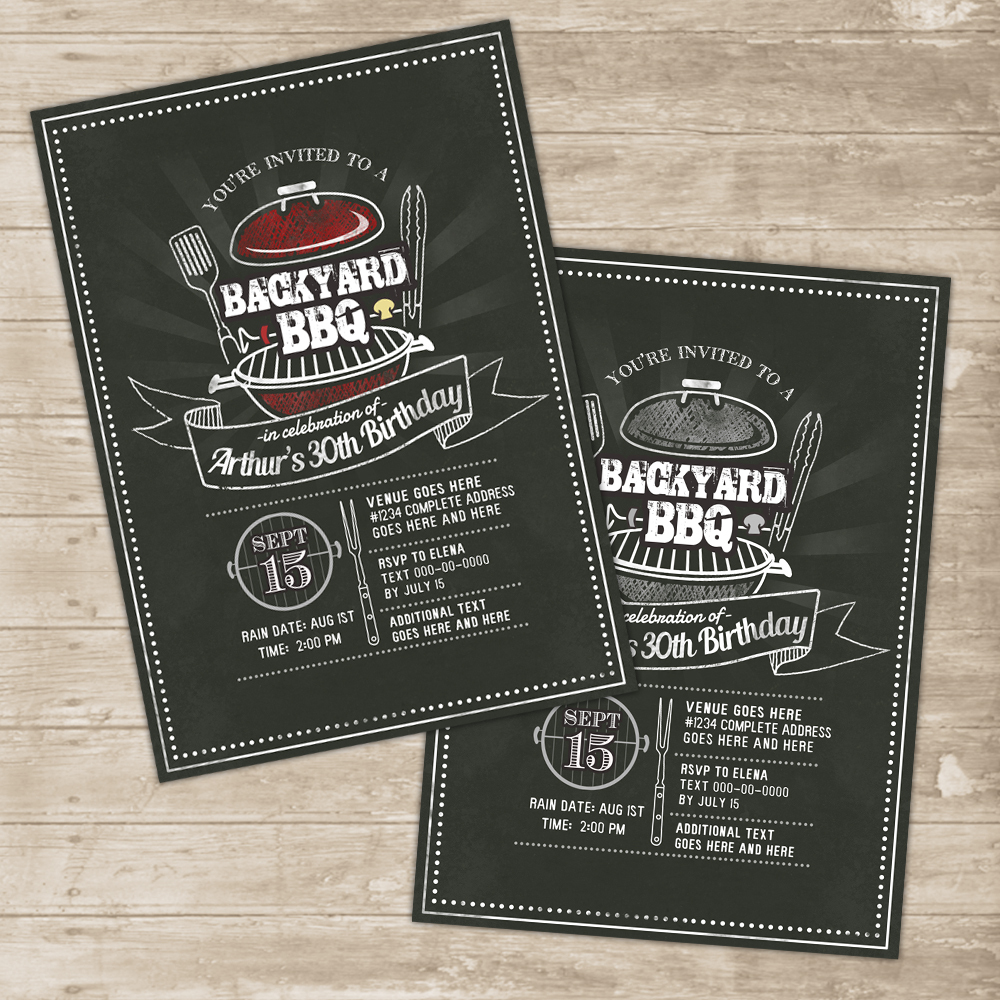 backyard bbq invitation grill cookout invite family picnic birthday