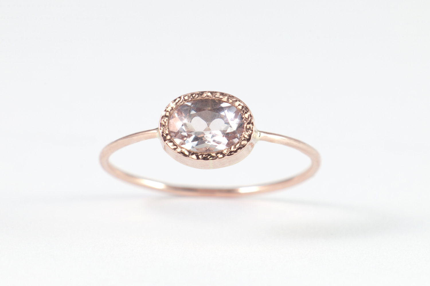 Morganite Ring 14K Rose Gold Morganite Ring Horizontal Set Simple