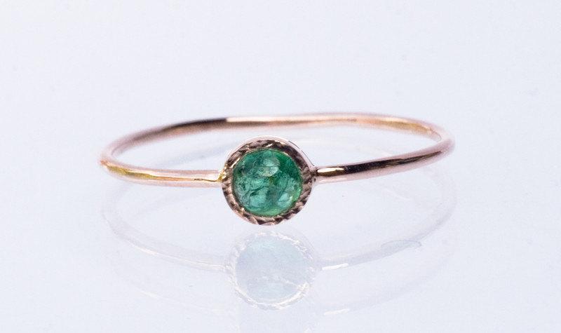 Emerald ring in 14k Rose gold green gemstone ring May birthstone