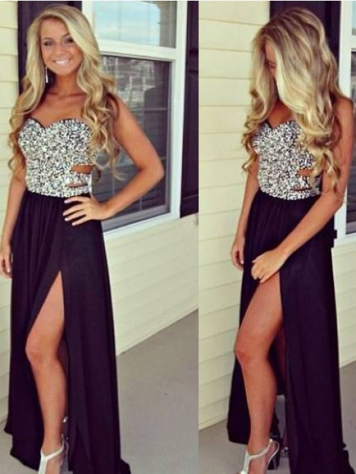 Sparkly Sequin Shiny Long Black Prom Dresses,Modest Prom Dress,Top ...