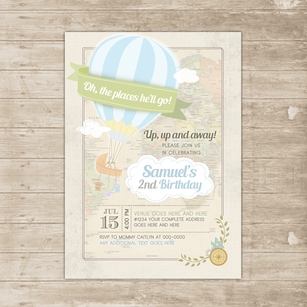 Hot Air Balloon Invitation Oh Baby the Places Youll Go Invite boy