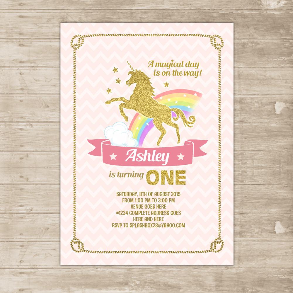 Unicorn Pink Gold Invitation Rainbow Invite Glitter Age One First Birthday
