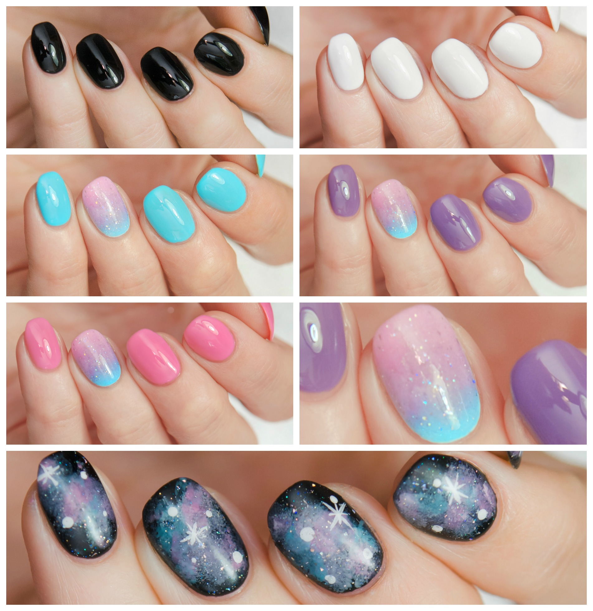 FULL SIZE Galaxy Nails Collection - custom creme holographic glitter ...